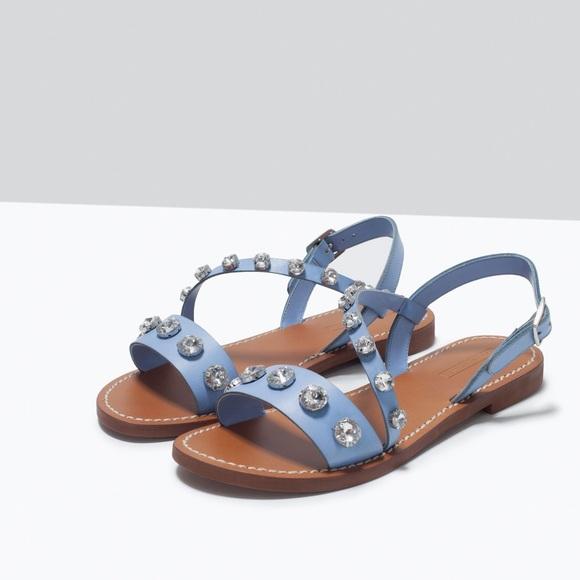 Zara light blue jeweled Greek sandals